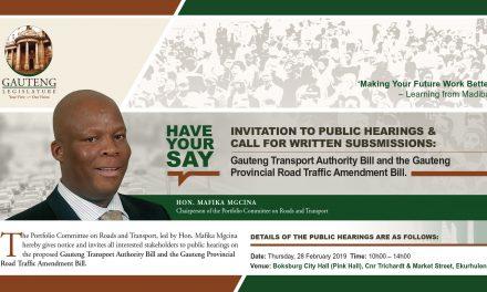 Proposed Gauteng Roads and Transport Bills