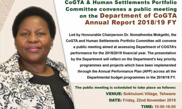 COGTA & Human Settlements Committee convenes public meeting to review COGTA Department's annual performance