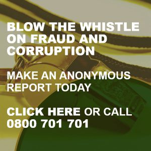 Click here or call 0800 701 701 to report incidents of fraud