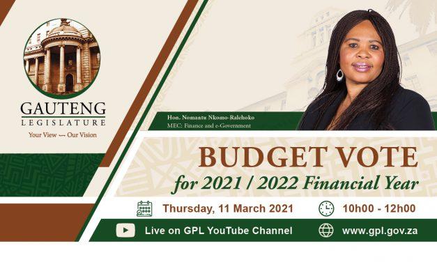 2021/2022 budget vote, thursday 11 march 2021